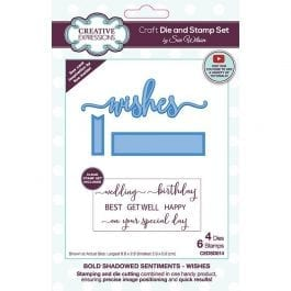 Creative Expressions Sue Wilson Die & Stamp Set Bold Shadow Sentiments Wishes