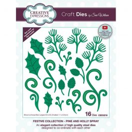 Creative Expressions Sue Wilson Dies Festive Collection – Pine & Holly Spray