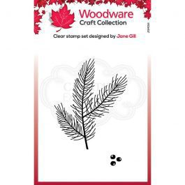 Woodware Clear Stamp 3.8″ x 2.6″ Mini Pine Branch