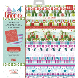 Nature's Garden Christmas Gnome Home 12″ x 12″ Paper Pad 180gsm Acid & Lignin Free 48 Sheets