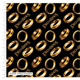 Craft Cotton Company Printed Cotton The Lord of The Rings 110cm Rings Tossed