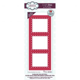 Creative Expressions Sue Wilson Dies Slimline Collection – Outer Scalloped Rectangle Aperture Trio