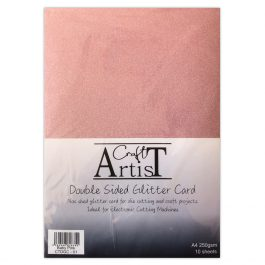 Craft Artist Double Sided Glitter Card A4 250 gsm Baby Pink Pk 10