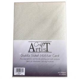 Craft Artist Double Sided Glitter Card A4 250 gsm Silver Pk 10