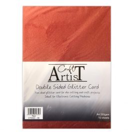 Craft Artist Double Sided Glitter Card A4 250 gsm Red Pk 10