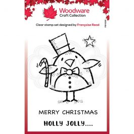 Woodware Clear Stamp 3.8″ x 2.6″ Top Hat Robin