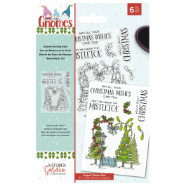 Nature's Garden Christmas Gnome Kissing Gate Acrylic Stamp Set 6 pieces. Largest Stamp Size 9.4cm x 9.2cm