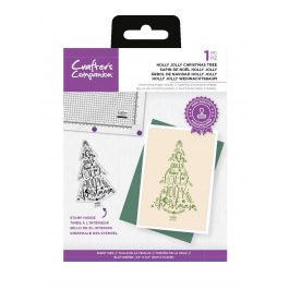 """Crafter's Companion Photopolymer Stamp – Holly Jolly Christmas Tree – 1 Piece 3.5"""" x 5.6"""" (9cm x 14.3cm)"""