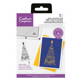 """Crafter's Companion Photopolymer Stamp – Merry and Bright Tree – 1 Piece 3"""" x 5.2"""" (7.6cm x 13.3cm)"""