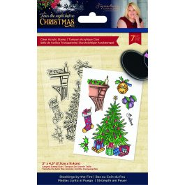 Sara – 'Twas the Night Before Christmas – Acrylic Stamp – Stockings by the Fire