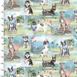 3 Wishes Printed Cotton A Dogs Life 110cm Dog Park