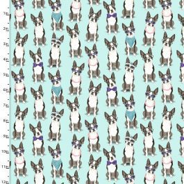3 Wishes Printed Cotton A Dogs Life 110cm French Bulldog