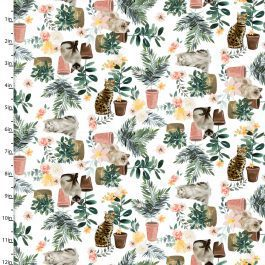 3 Wishes Printed Cotton Everyday is Caturday 110cm Plants