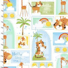 3 Wishes Printed Cotton Flannel Welcome to the Jungle 110cm Animal