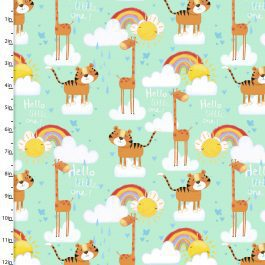 3 Wishes Printed Cotton Flannel Welcome to the Jungle 110cm Giraffe
