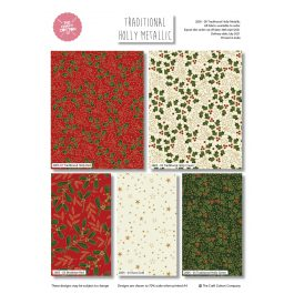 Craft Cotton Company Fat Quarter Pack Traditional Holly Metallic Pk 5