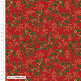 Craft Cotton Company Printed Cotton Traditional Holly Metallic 110cm Mistletoe Red