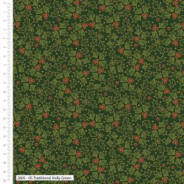 Craft Cotton Company Printed Cotton Traditional Holly Metallic 110cm Traditional Holly Green