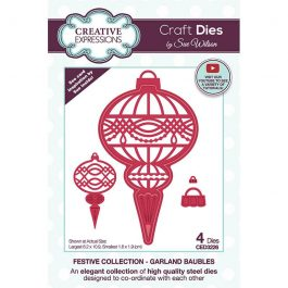 Creative Expressions Sue Wilson Dies Festive Collection -Garland Baubles