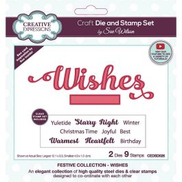 Creative Expressions Sue Wilson Stamp & Die Festive Collection – Wishes