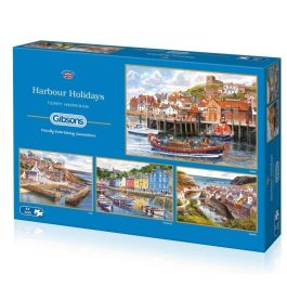 Gibsons Jigsaw Harbour Holidays 4 x 500 Piece Puzzle